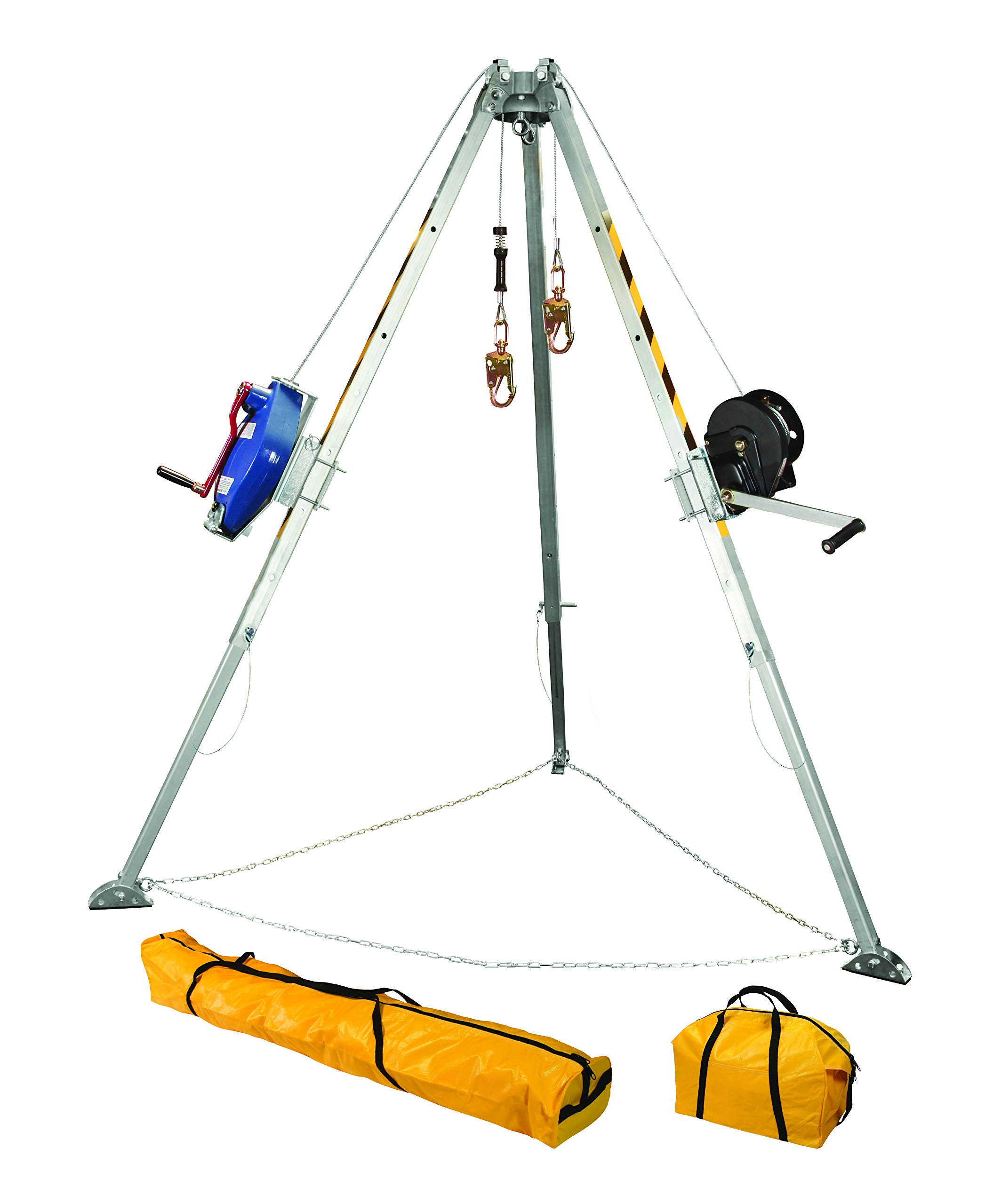 FallTech 7509 Confined Space Tripod Kit   -  Tripod Kit with 7276 Tripod, 7293 Winch, 7281 3-way Retrieval SRL, 2 x 7291B Leg Brackets, and Storage Bags, Natural