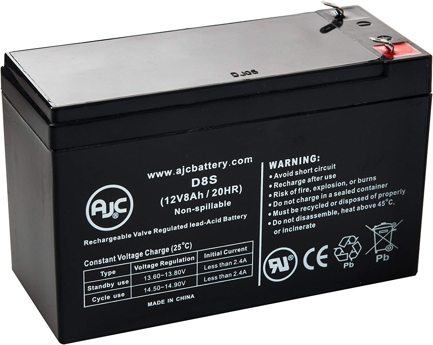 Ritar RT1272 RT 1272 12V 8Ah Sealed Lead Acid Battery This is an AJC Brand Replacement