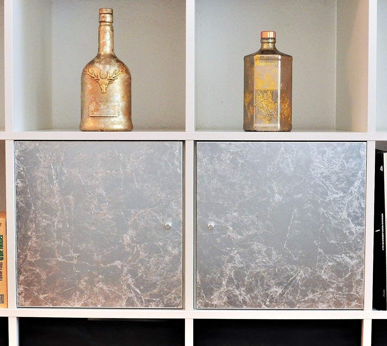 Ikea Kallax Regaleinsatz mit Tür, mit Blattmetall gestaltet - silber/gold / kupfer