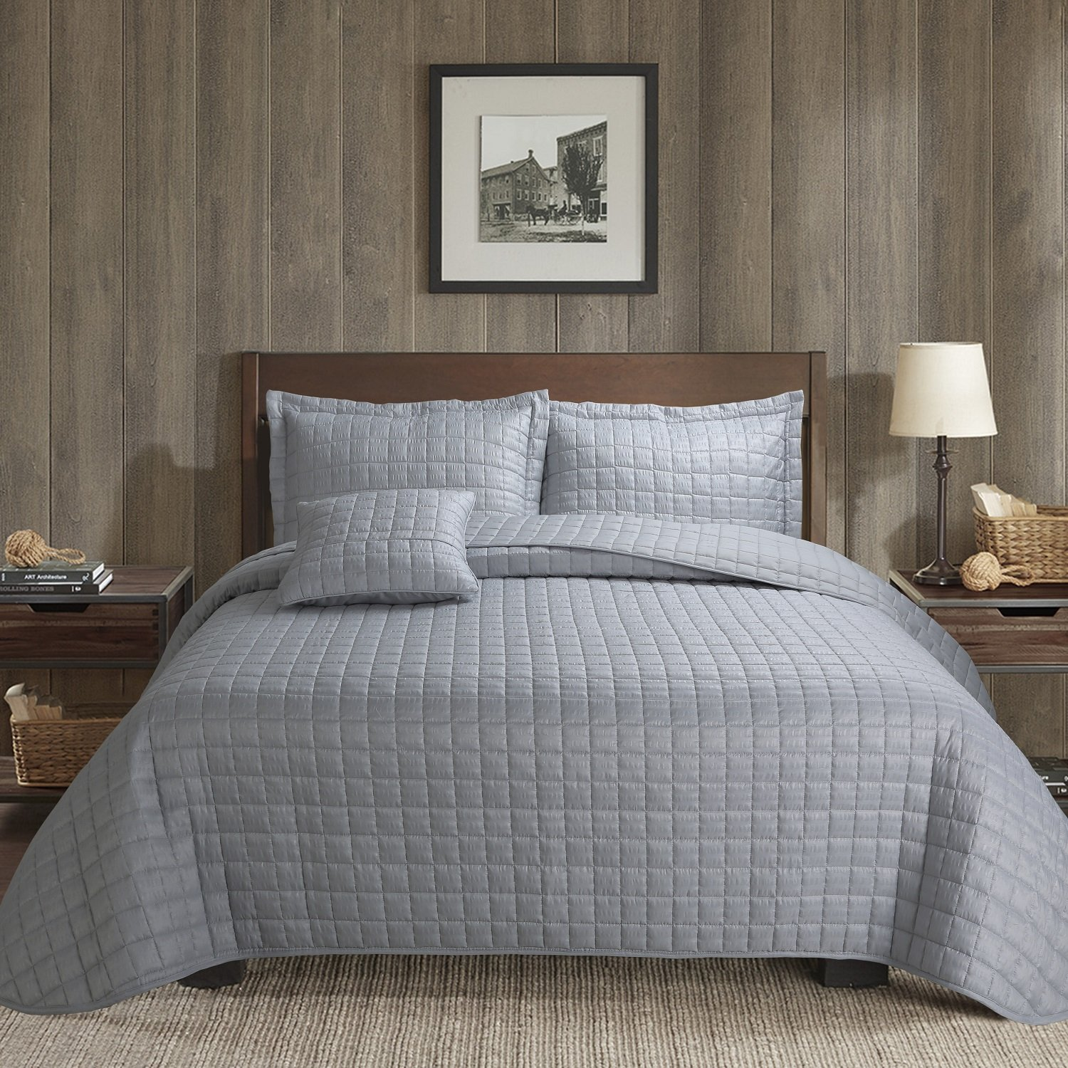 4-Piece Bubble Reversible Solid Quilt set with Shams,as Bedspread,Coverlet, Blanket, summer quilt or Bed Cover,King size -Soft, Lightweight and Hypoallergenic,all seasons (GRIGIO PERLA, 106X96)