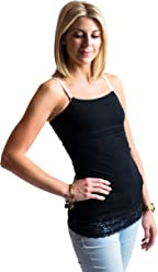 Undercover Mama Lace Trim Nursing Tank Top - Attaches to Your Bra