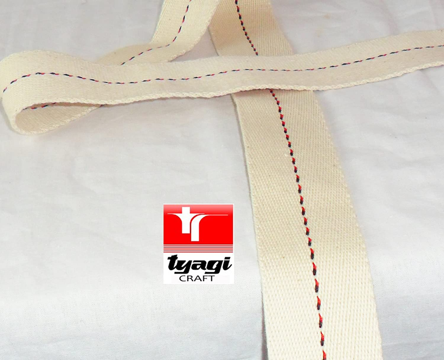 39mm wide Pure Cotton Thick Tape Thick Webbing Strap Tent Upholestry Bags Sturdy Cotton Straps Harness Craft Black and Red Dotted Centre Line 1 Meter Tyagi Craft