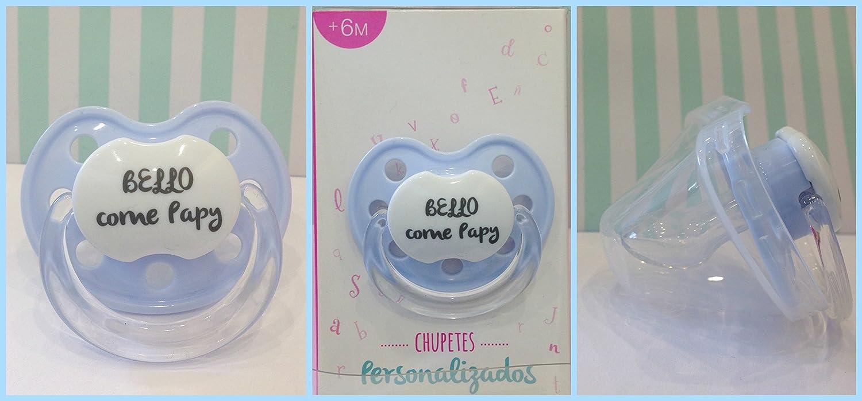 Chupete Chupete Azul azul personalizado con frase Bello como Papy + ...