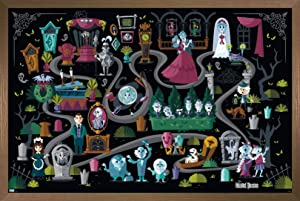 "Trends International Disney Haunted Mansion - Map Wall Poster, 14.725"" x 22.375"", Bronze Framed Version"