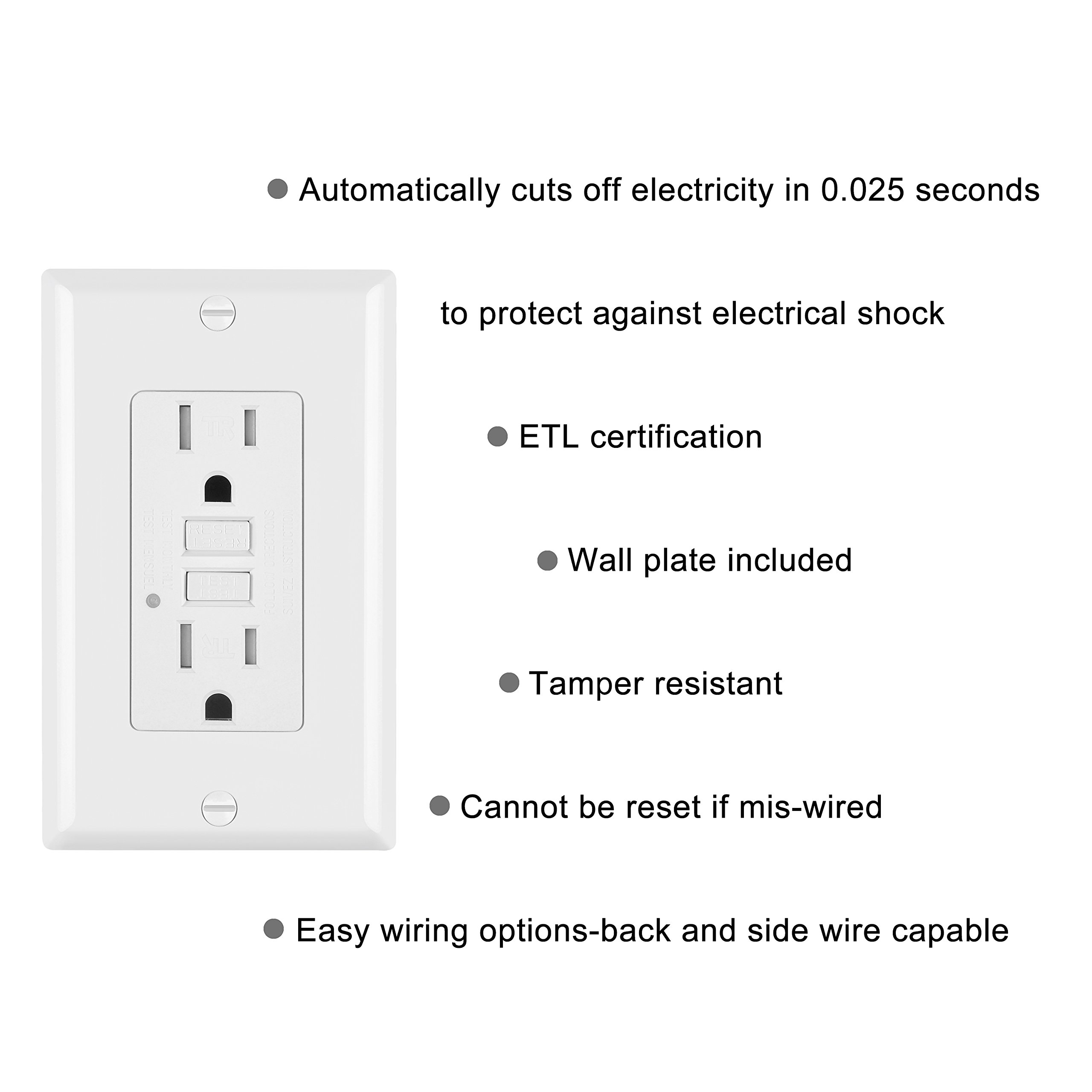 5 Pack - ELECTECK 15A/125V Tamper Resistant GFCI Outlets, Decor Receptacle with LED Indicator, Decorative Wall Plates and Screws Included, Residential and Commercial Grade, ETL Certified, White by ELECTECK (Image #2)