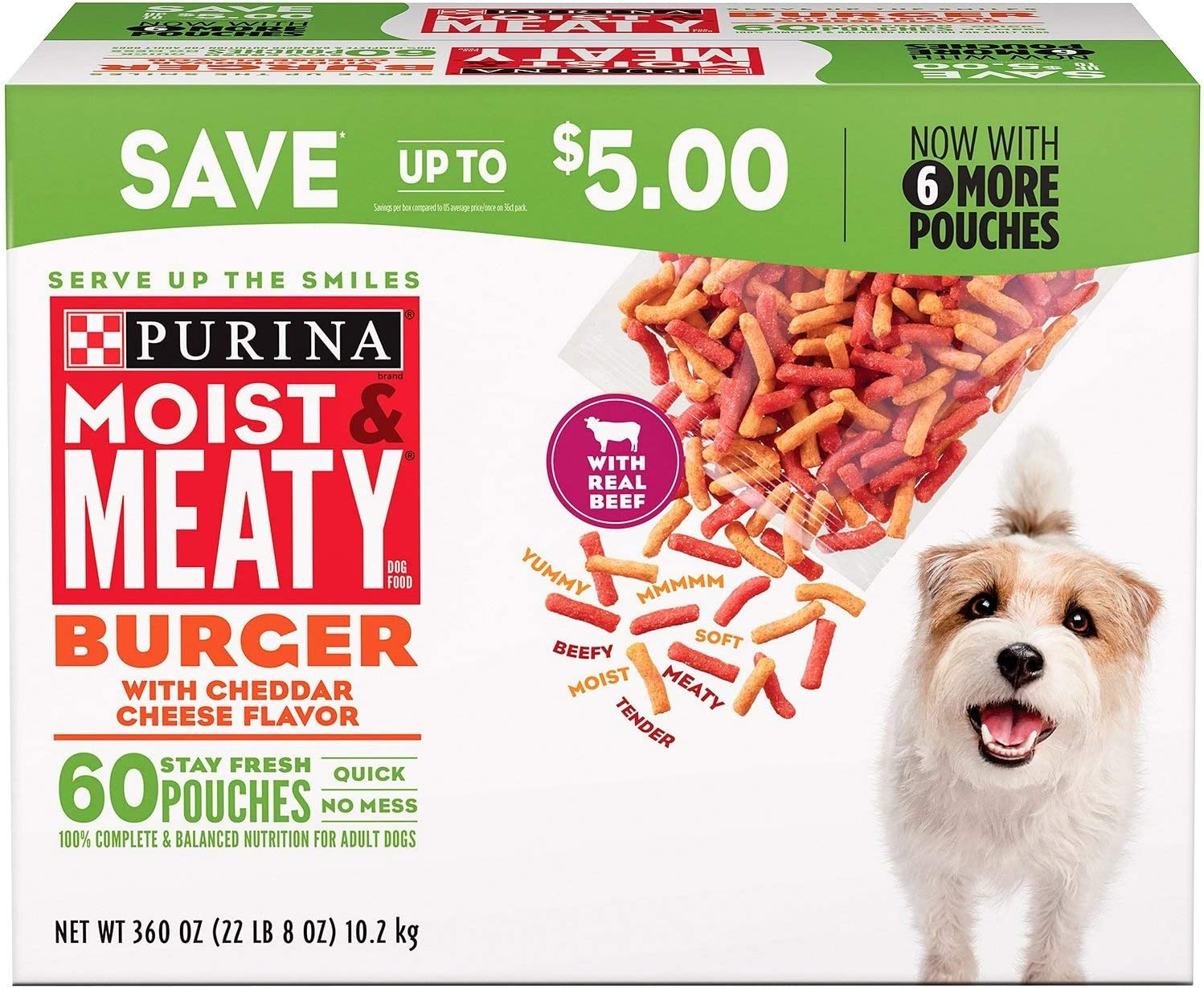 Purina Moist & Meaty Dog Food, Burger with Cheddar Cheese Flavor