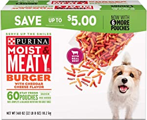 Purina Moist & Meaty Burger with Cheddar Cheese Flavor Dog Food 60 ct./6 oz.