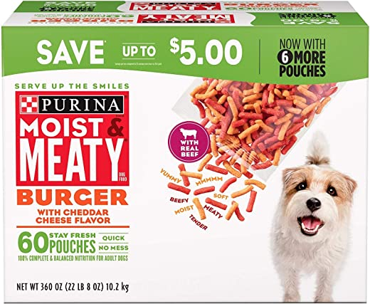 Purina Moist & Meaty Dog Food, Burger with Cheddar Cheese Flavor, 360-Ounce Box, Pack of 1