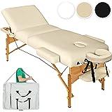 TecTake Massageliege mit 10cm reiner Polsterung + Tasche & Alukopfstütze - diverse Farben (Beige)