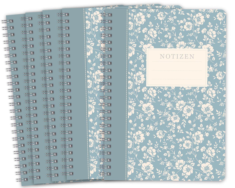 Lot de 2 LifeDesign Carnets Cahier spirale Livre Trentino 120 Pages Lign/ées Cr/ème Format A5 Couverture Souple