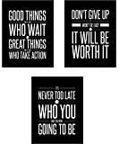 Don't Give Up 3 Poster Set Motivational Inspirational Quote Wall Art Posters – Black & White Typographic UNFRAMED Wall Home Decor, Office, Classroom, Dorm Room, Gym, Entrepreneur (8 x 10)