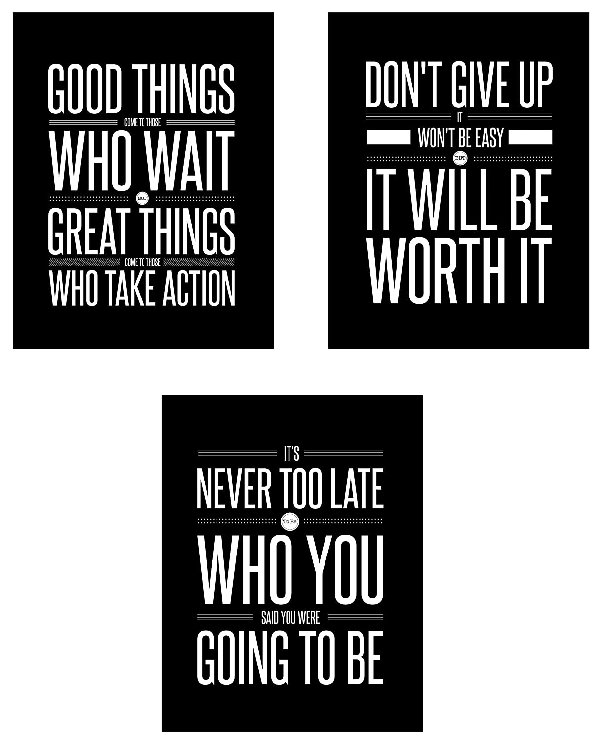 Dont give up 3 poster set motivational inspirational quote wall art posters black white typographic unframed wall home decor office classroom