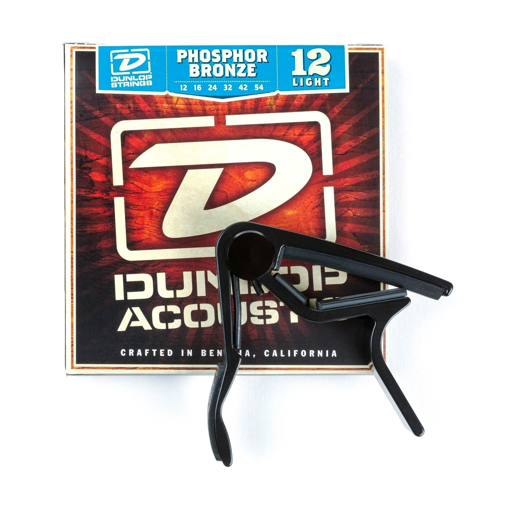 Dunlop 83CBA12 Acoustic Trigger Capo & Phosphor Bronze Strings Combo Pack
