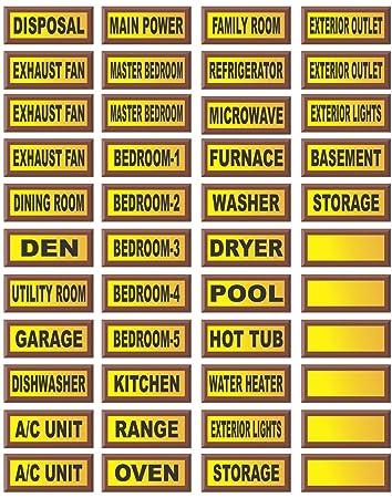 Electrical Circuit Breaker Waterproof Decal Labels - Circuit ...