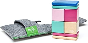 Tegu 8 Piece Pocket Pouch Magnetic Wooden Building Block Set Toy Blossom (Girl-Boy Educational STEM Gift For Ages 1, 2, 3, 4, 5, 6+ Years Old)
