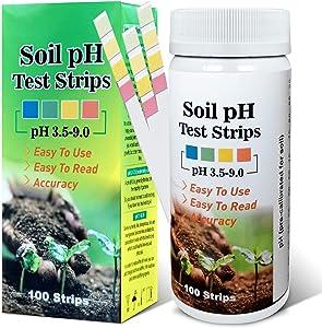Saysummer Soil ph Tester, Soil Test Kit, SoilphMeter, ph Test Strips for Gardens Soil Lawn Farm Outdoor and Indoor Plants - 100 PCS