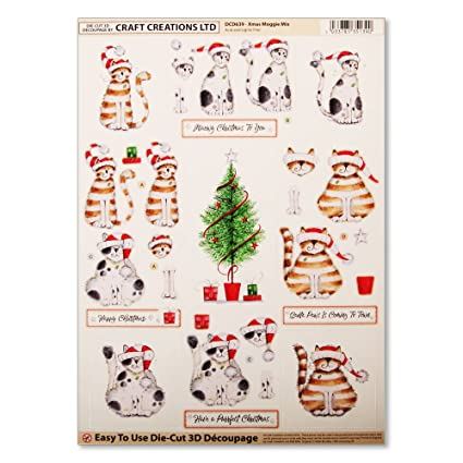 Craft Creations Easy To Use Die-Cut 3D Decoupage Xmas Moggie Mix DCD639