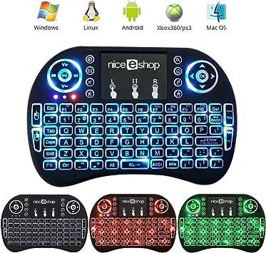auoker 2,4 G Mini Teclado Inalámbrico Portátil con Touchpad Ratón Handheld Multimedia Android Teclado para Windows, Android/Google/Smart TV, Linux, ...