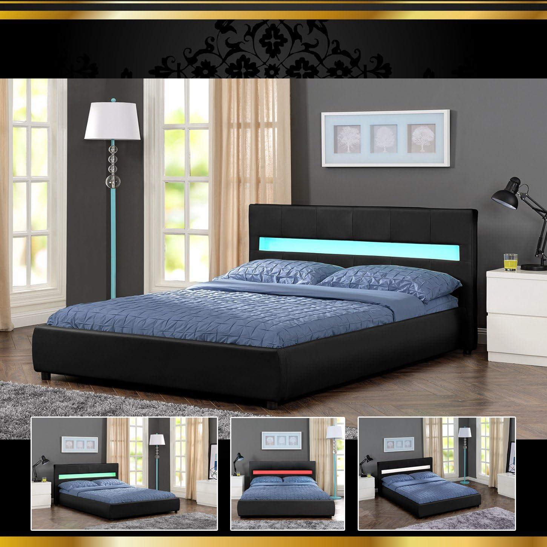 180 x 200 AMORE LED Luxus negro cama acolchada cama somier ...