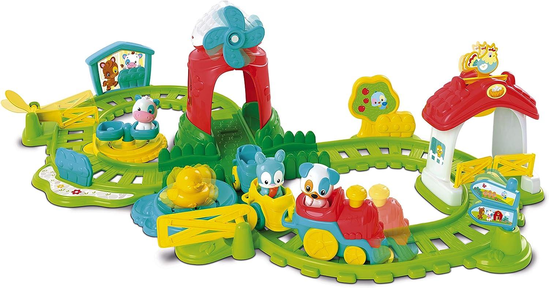 Clementoni 59200 El Tren de Hierro de la Granja, Colorido, Divertido, Locomotora motorizada, Figuras de Animales Dulces, Efectos de Sonido y melodías, Juguete para niños a Partir de 12 Meses