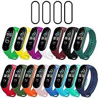 Milomdoi [19 Articulos] 15 Colors Correas + 4 Unidades TPU Protector Pantalla para Xiaomi Mi Band 5, Silicona Correa de…