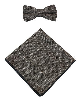 6da007b188f2 Mens Herringbone Tweed Check Bow Tie Hanky Retro Vintage Classic Peaky  Blinders - Brown-Tweed