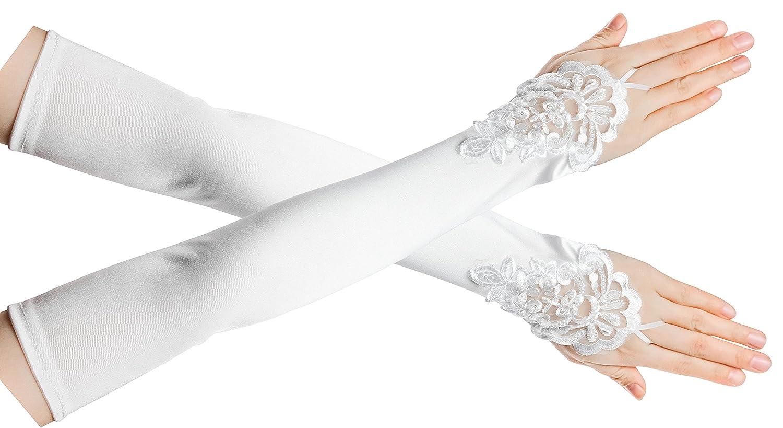 FEIBAO Damen 1920 Satin Handschuhe Vintage Gatsby Flapper Zubeh/ör 22 Zoll Opern Ellenbogen Handschuhe