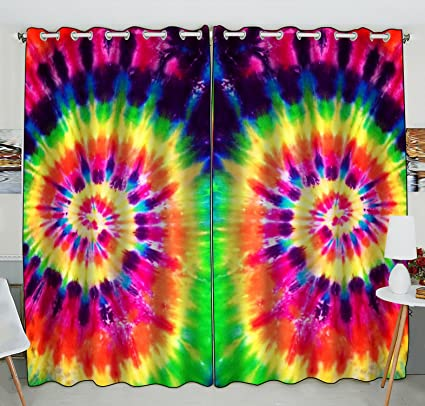 Amazon Com Custom Colorful Tie Dye Window Curtain Colorful Tie Dye