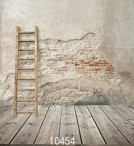 Vintage Shabby pared escalera de madera de Photography fondo de fotografía de estudio: Amazon.es: Electrónica