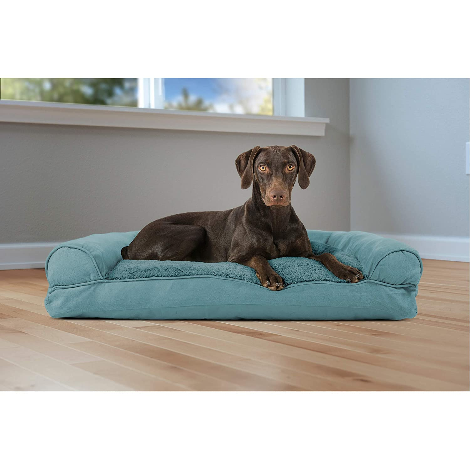 Large Furhaven Pet Dog Bed Ultra Plush Faux Fur /& Suede Pillow Cushion Traditional Sofa-Style Living Room Couch Pet Bed w// Removable Cover for Dogs /& Cats Clay