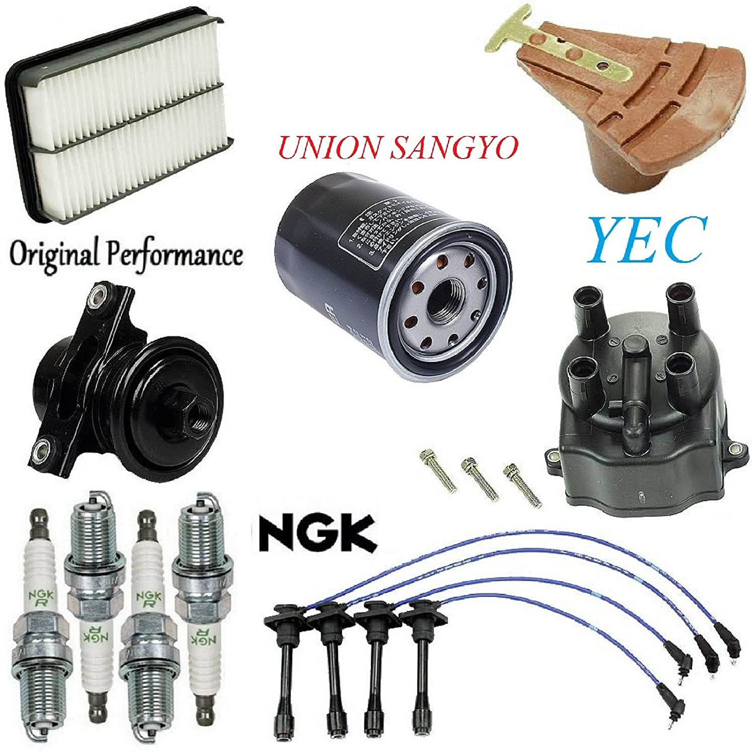 Tune Up Kit Filters Cap Rotor Plugs Wire for Geo Prizm L4; 1.6L 1993-1997 8USAUTO