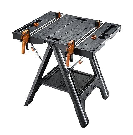 Worx pegasus multi function work table and sawhorse with quick worx pegasus multi function work table and sawhorse with quick clamps and holding pegs keyboard keysfo Images