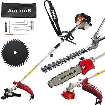 Arebos - Herramienta multiusos 4 en 1 (3,0 PS, gasolina, desbrozadora, cortasetos, podadora, sierra): Amazon.es: Bricolaje y herramientas