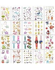Zooawa Kids Cartoon Temporary Tattoos, [20Sheet] Boys Girls Cute Fake Sticker Tattoos Including Animal Plant Watch Patterns, Colorful