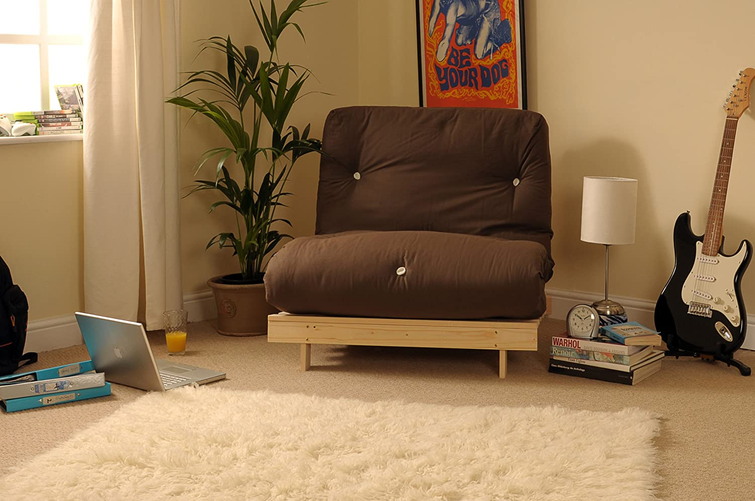 Comfy Living 3ft (90cm) Single Wooden Futon with CHOCOLATE Mattress