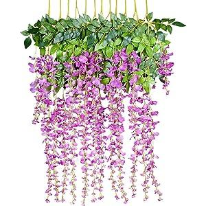 YQing - Flores artificiales para decoración del hogar, cada tira de 110 cm