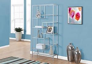 """Monarch Bookcase, 72"""", Silver/Clear Glass"""