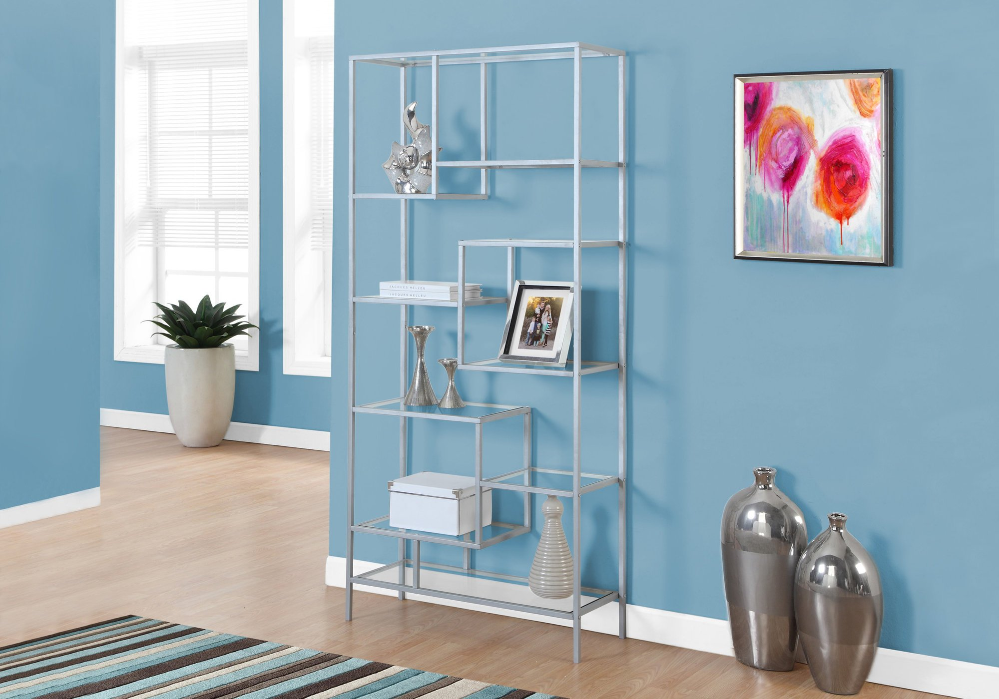 Monarch Bookcase, 72'', Silver/Clear Glass by Monarch Specialties