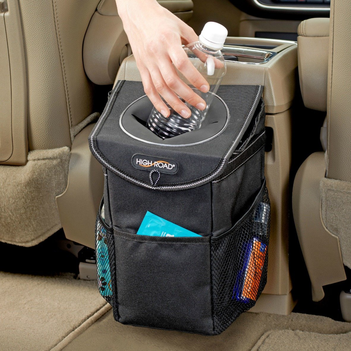 High Road StashAway Car Trash Can with Lid and Storage Pockets Talus 4350404502