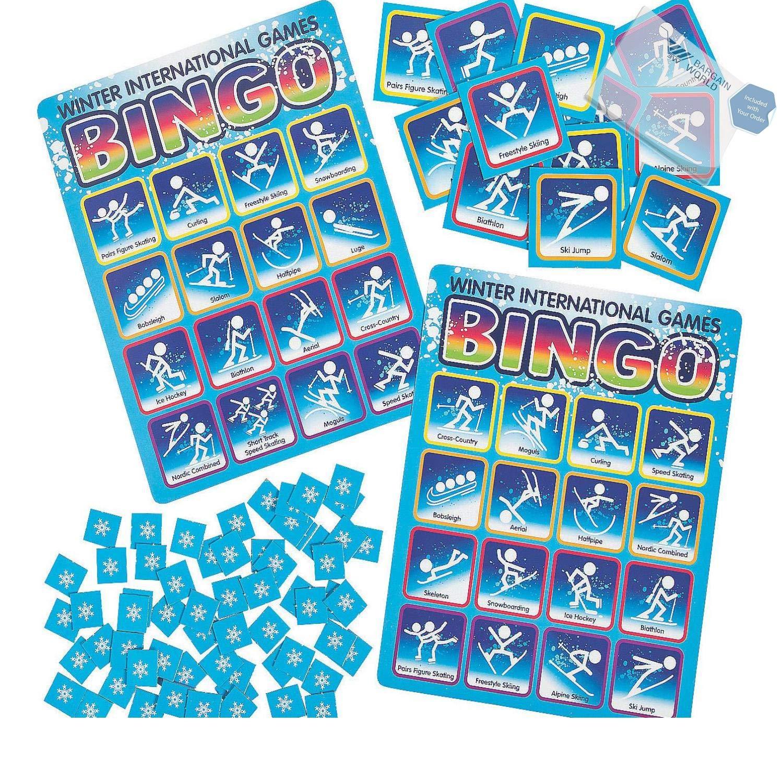 Bargain World Winter International Games Bingo Game (With Sticky Notes)