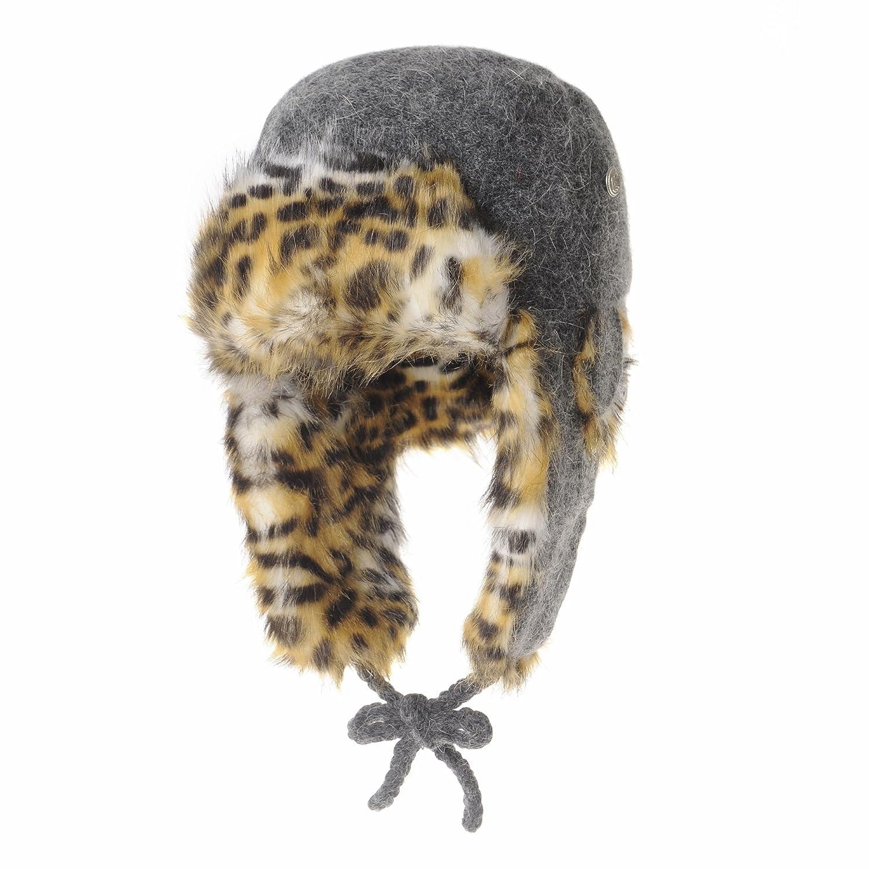 WITHMOONS Wool Felt Knit Ear Flap Beanie Hat Leopard Faux Fur LX7523 (Grey)  at Amazon Women s Clothing store  2b8d9ff82eb9
