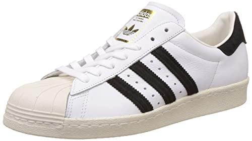 brand new f0dcc 369f7 adidas Originals Men s Superstar 80S Ftwwht, Cblack and Goldmt Leather  Sneakers - 10 UK