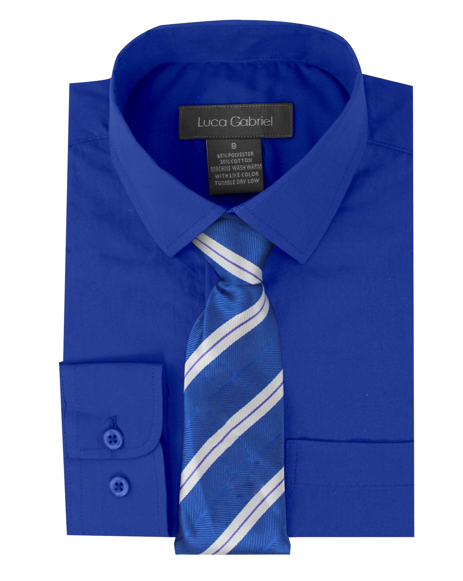Luca Gabriel Toddler Boy's Long Sleeve Formal Button Down Dress Shirt & Tie Set - Royal Blue 3t