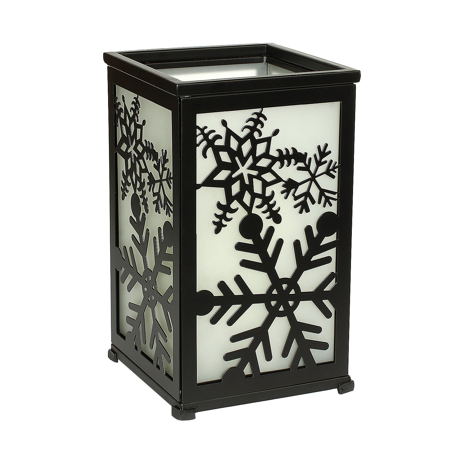 GiveU Decorative Rustic Lantern with Flickering Flameless LED Candle, Hurricane Lantern with Twelve Magnetic Seasonally Themed Panels