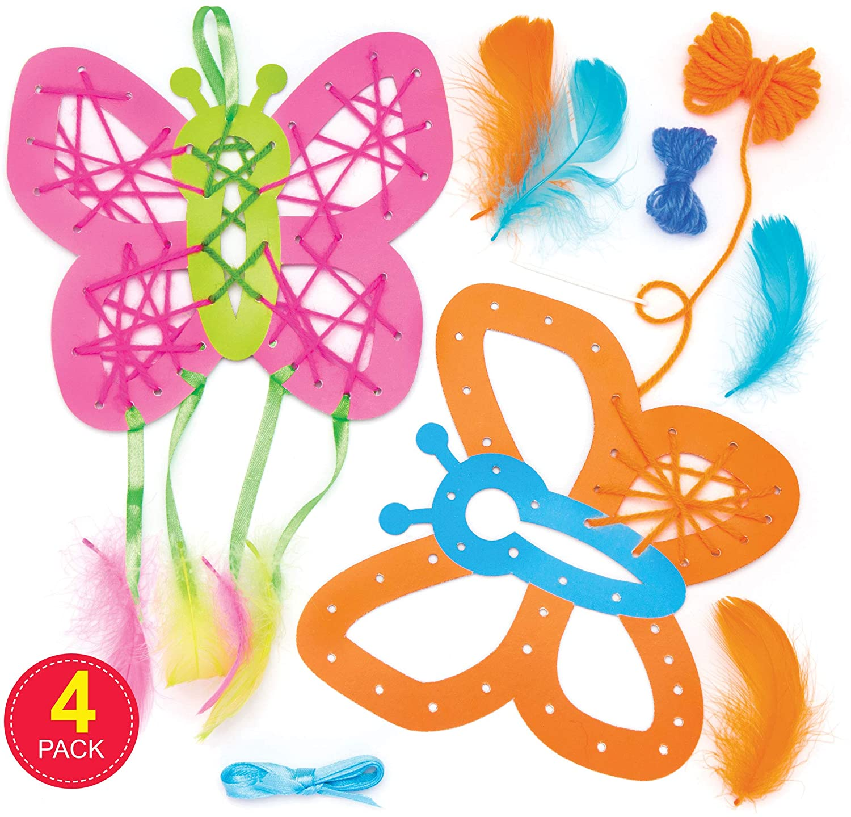 6 pequeños 2 Cm verde pluma mariposas para manualidades