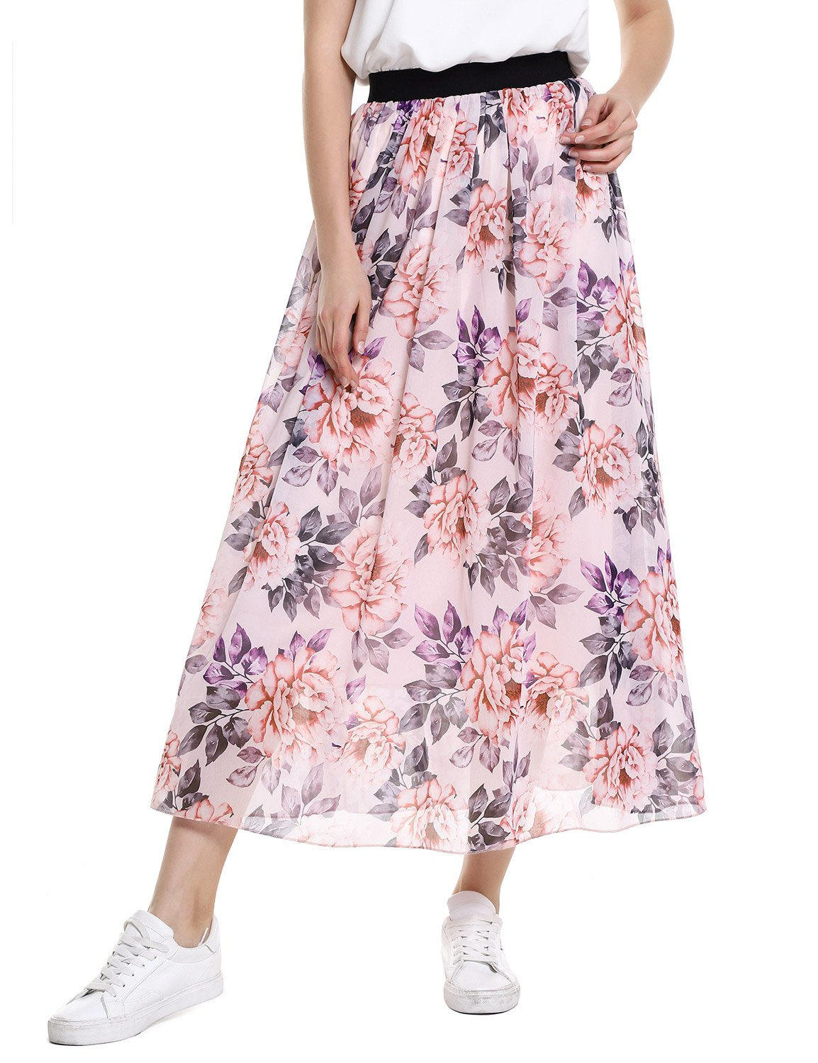 ZANSTYLE Chiffon Maxi Skirt Casual Floral Elastic Waist Tulle Layer Ankle Length Beach Skirt