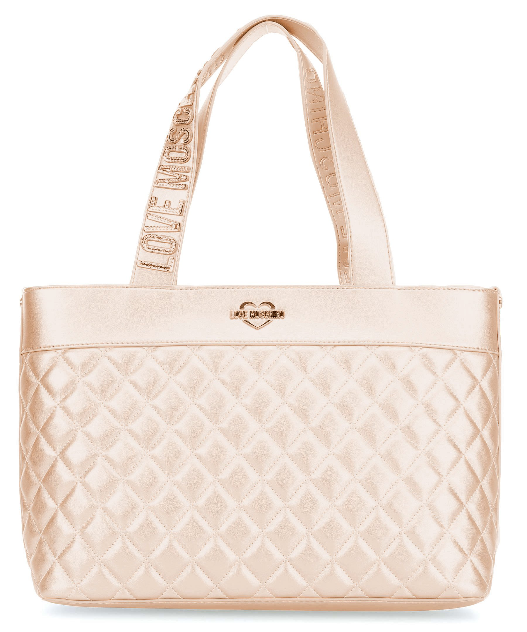 LOVE MOSCHINO Quilted Tote with Gold Metallic Logo Handles, Rose Gold