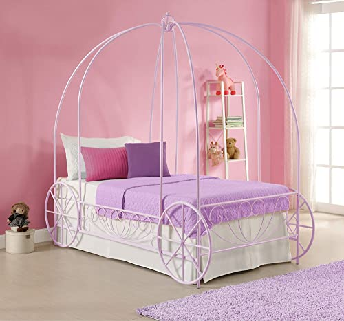 DHP Metal Carriage Twin Lilac Bed Frame