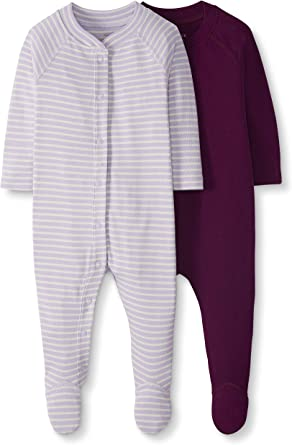 Moon and Back de Hanna Andersson - Pack de 2 pijamas pelele de bebé con pies hechos de algodón orgánico para dormir y jugar, Púrpura, Bebé prematuro: Amazon.es: Ropa y accesorios