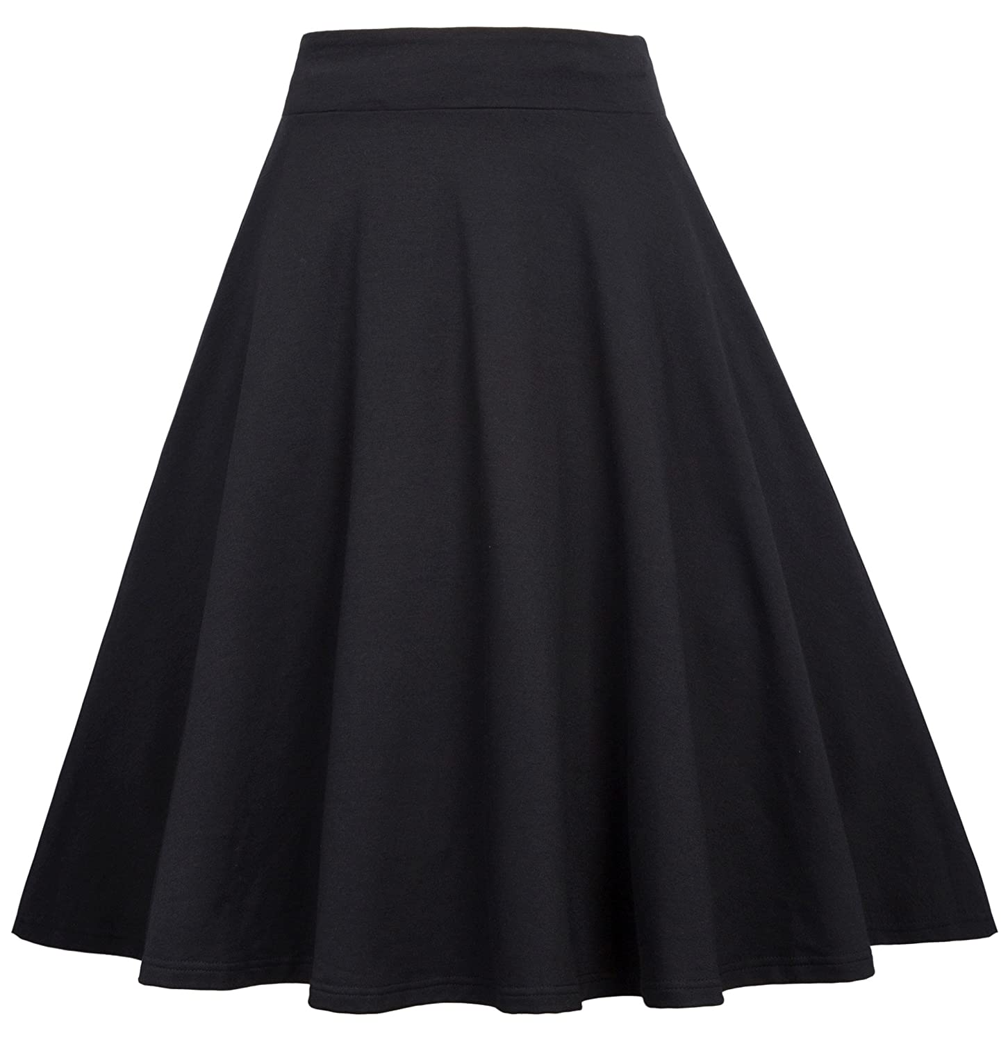 8efe98c98c Features: Flare Midi Skirt, Solid Color and Floral Printed, A-line, Elastic  Waist, Midi Length, Pull-on Closure